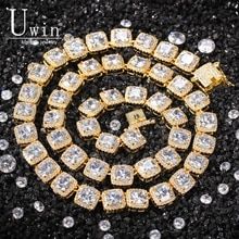 Uwin Square CZ Cadena de tenis 10mm de lujo Bling Full Iced Out collar hombres HipHop joyería para regalo
