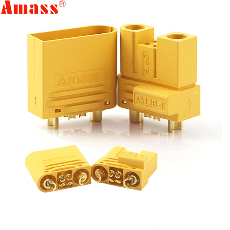 Amass AS120 Plug Lithium Battery Male Female Connector  Plug with Resistance for RC Drone FPV Racing Multirotor Parts enlarge