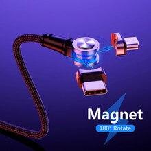 Cable magnético 3 en 1 USB USB-C cargador de carga rápida Micro Cable nailon LED trenzado USB tipo-c cargador magnético 180 grados giro libre