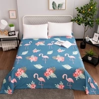 bed linen olyester fitted sheet full double single flamingo printed cartoon mattress cover flat sheet children king full size