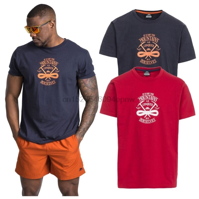 Camiseta estampada de algodón de manga corta para hombre