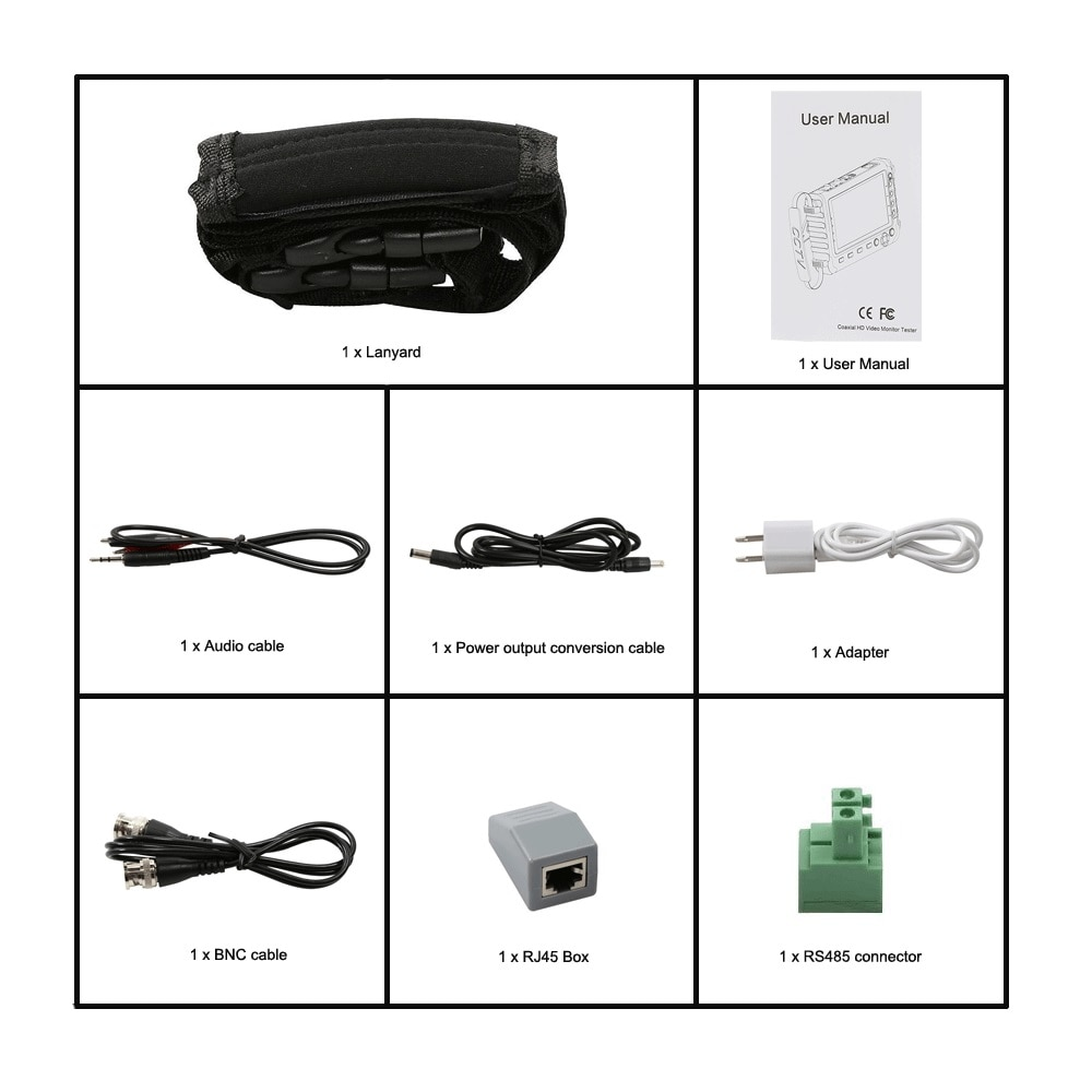 CVBS security Camera CCTV tester 5 inch  5MP 1080P UTC TVI AHD CVI Analog monitor Support VGA HDMI input UTP Cable test enlarge