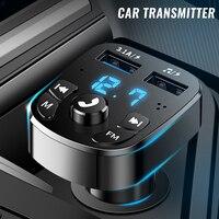 Автомобильный беспроводной Bluetooth FM-трансмиттер, зарядное устройство MP3, двойной оборудованный плеер, Bluetooth светодиодный дисплей, автомобиль...