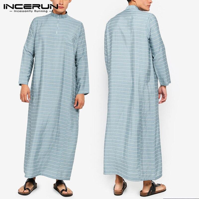 Ropa informal de manga larga con cuello levantado de caftán musulmán a rayas de INCERUN, Túnica suelta de Jubba islámica a la moda de Arabia Saudita para hombres, S-5XL