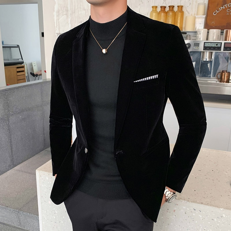 Fall Winter Gold Velvet Blazer High Quality Slim Fit Suit Jacket Fashion Casual Men Groom Singer Cos
