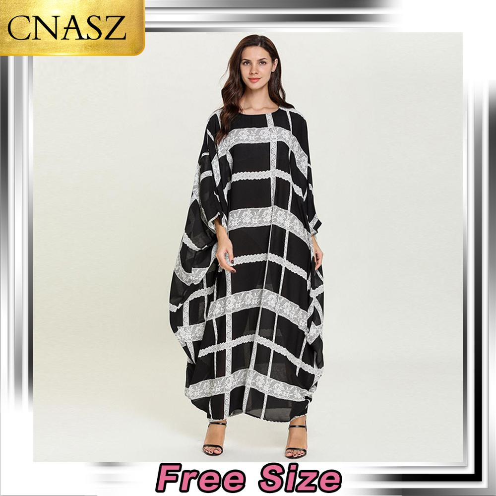 Vestido musulmán Dubai marroquí de talla grande para mujer islámico pavo moda murciélago manga larga de encaje a cuadros de alta