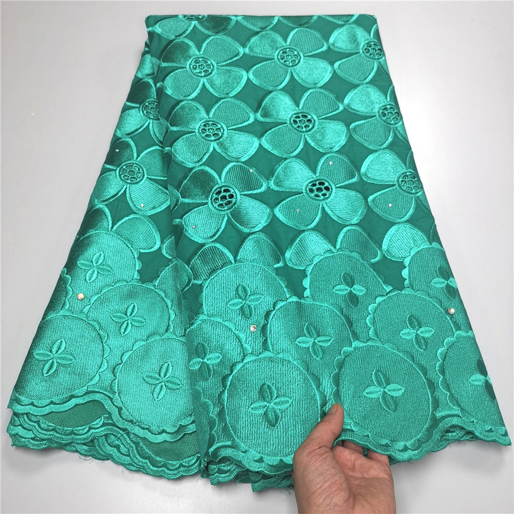 Swiss lace fabric 2021 latest with stones embroidery African 100% cotton fabrics Swiss voile lace popular Dubai style YC-78