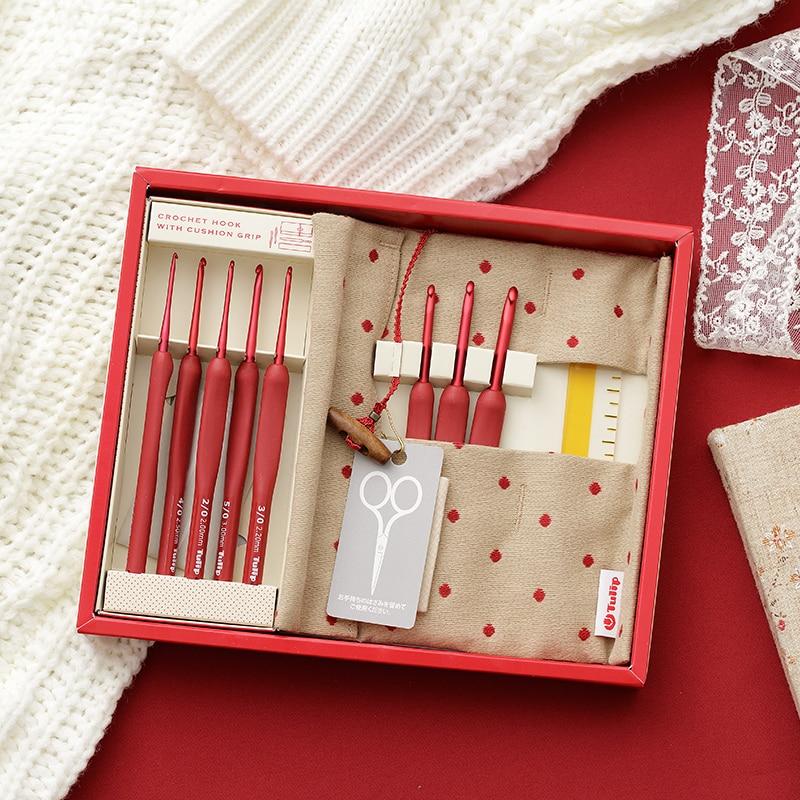 1 Set Japan Tulip ETIMO Rot Marke Häkeln Haken Aluminium Harz Stricken Nadeln Original authentischen Importiert aus Japan 1,8-5mm