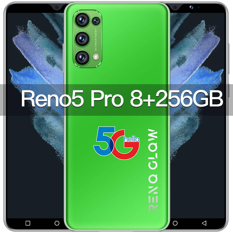Reno5 Pro 6.0 Inch 8GB RAM 256GB ROM 6.0 Inch 16+32MP Camera 10 Core 6800mAh Smart Phone Face Fingerprint ID MTK6889 Cellphone