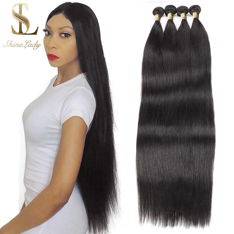 Shinelady 4 Pcs Straight Hair Bundle 24 inch Long Length Thick And Full Human Hair Bundles Off Black Straight Hair Extension