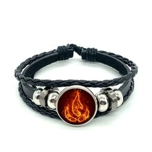 Avatar le dernier Airbender feu Nation Logo Bracelet en cuir noir Anime bijoux Aang Prince Zuko Cosplay accessoires
