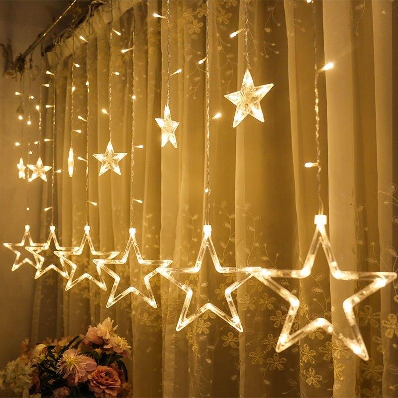 Estrela de natal lmpada led luzes da corda na janela de fadas...