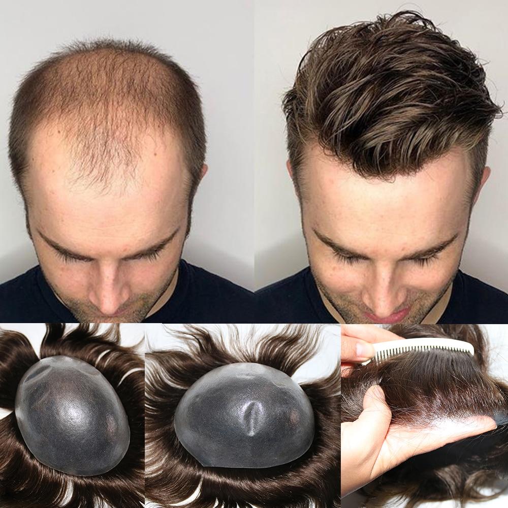 شعر مستعار رجالي ، شعر بشري أصلي مع حلقة V ، 0.04 -0.05 مللي متر ، شعر مستعار ، خط شعري طبيعي ، نظام استبدال شعر عذراء
