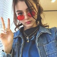 2020 Retro kleine oval vintage frauen sonnenbrille der marke töne rote metall farbe sonnenbrille für frauen mode designer lunette
