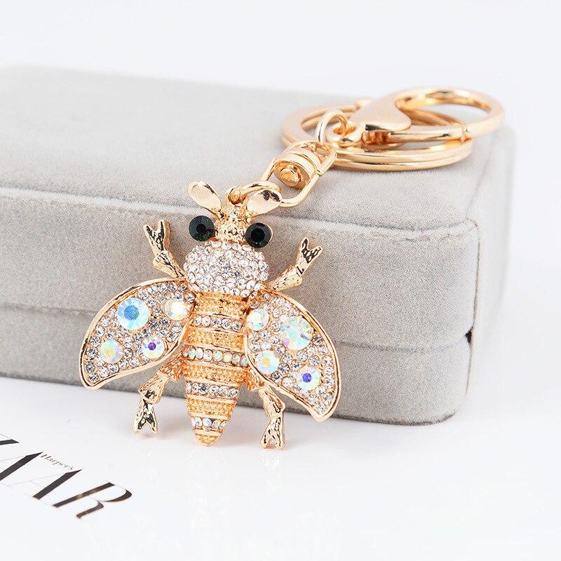 Pingente inseto-borboleta chaveiro bonito bumble-rainha-abelha chaveiro strass-jóias esmalte-honeybee carro chaveiro mulher saco presente