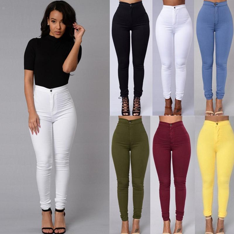 Novedad, pantalones pitillo de cintura alta, mallas, pantalones vaqueros para mujer, pantalones de chándal de talla grande