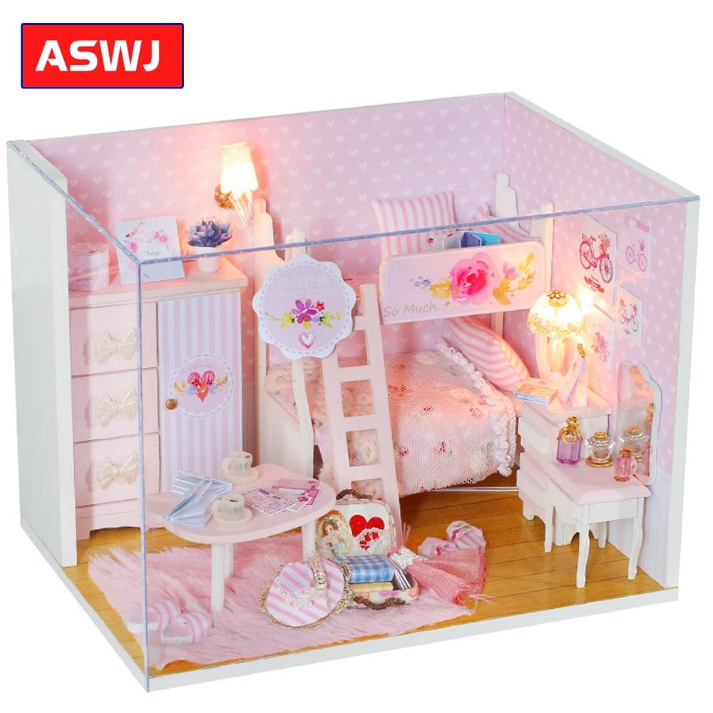 2019 nuevo roobox DIY princesa casa de muñecas miniatura con muebles casa de madera juguetes para niños cumpleaños regalos de navidad