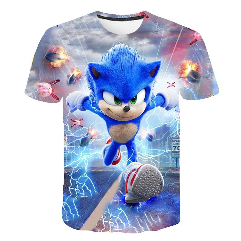 Ropa de verano para niños, camiseta de manga corta con estampado de dibujos animados en 3D de Sonic the Hedgehog para chicos, ropa de calle, Tops para niños y adolescentes