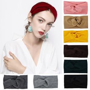 Wide Cloth Women Cross Knot  Headband Yoga Sports Comfortable Elastic Hairbands Teens Hair Accessories