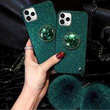 Paillettes glace soie motif couverture étui pour iphone 11 Pro XS Max XR X 8 7 6 6S Plus étuis renard fourrure boule porte-anneau béquille coque