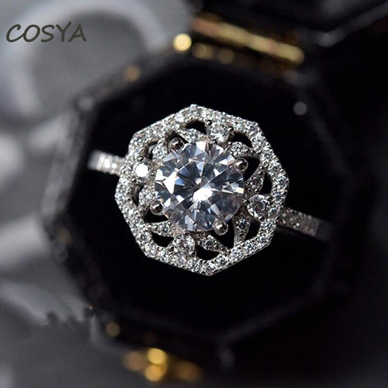 COSYA 100% 925 فضة هندسية عالية الكربون الماس للإناث الساطع خاتم الخطوبة حفلة غرامة مجوهرات هدية عيد ميلاد