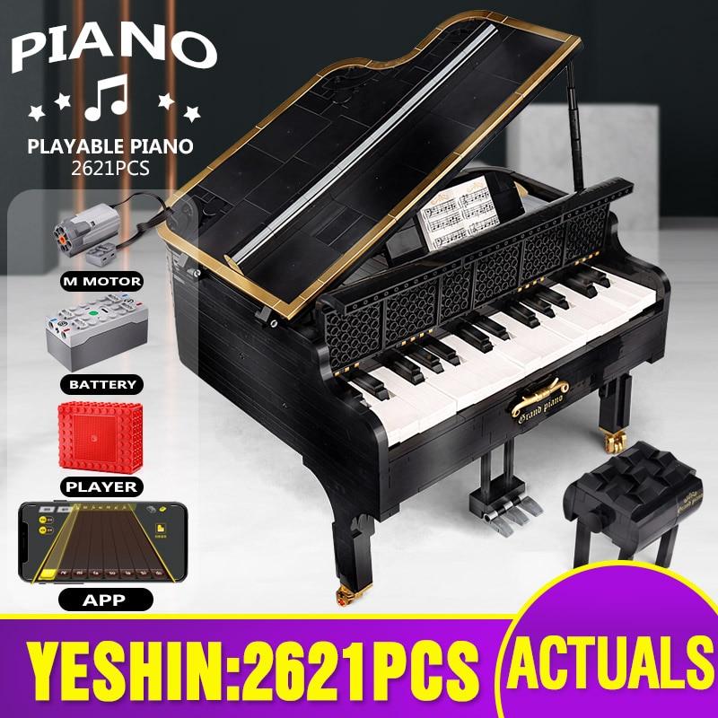 Yeshin MOC- 13192 ألعاب إبداعية 21323 App التحكم بمحركات اللعب البيانو الكبير مجموعة ألعاب أطفال بنة هدية الكريسماس