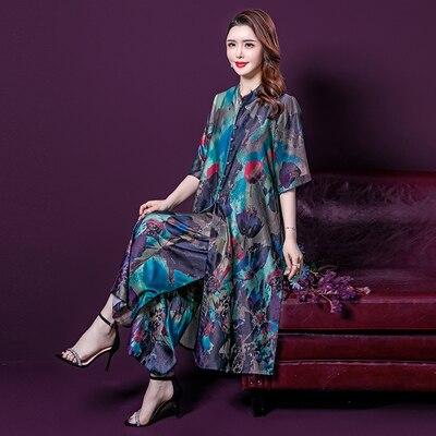 2020 Retro Art Print Loose Leisure Wide Leg 2 Piece Set Dress Chinese Style Floral Dresses For Women Plus Size 4xl 5xl Middle