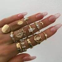 docona 15pcsset bohemian gold virgin mary heart flower kunckle midi ring set for women crystal geometric jewelry anillo 7056
