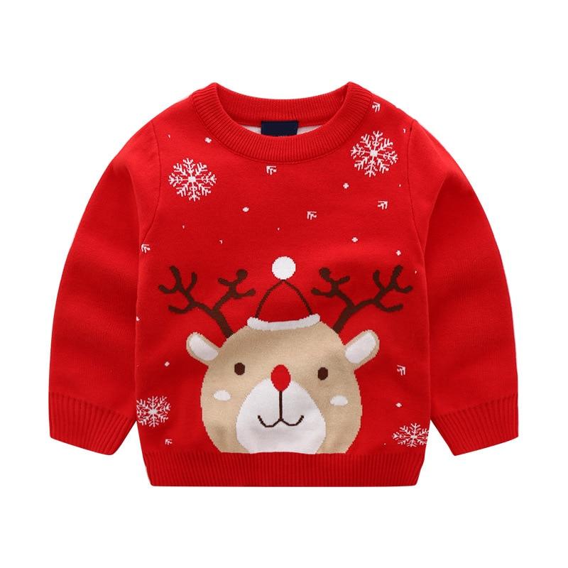 2-8t natal da criança do miúdo da menina do menino roupas outono inverno quente pulôver topo elk dos desenhos animados camisola bonito natal festa clube outfit