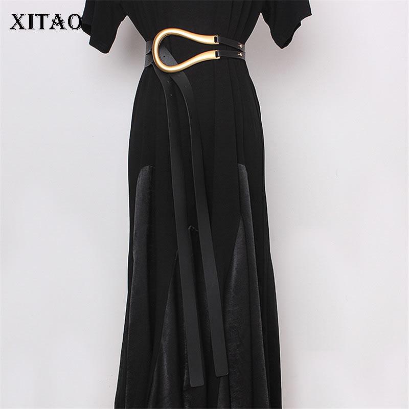 XITAO Frauen Mode Neue Gürtel Metall Gebogene Große Hufeisen Schnalle Importiert Mikrofaser Leder Doppel Gürtel Casual Gürtel DMY1859