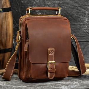 Newsbirds New Designer Leather Shoulder Bag Crazy Horse Leather Crossbody Bags For Men Male Messenger Bags Cowhide Sling Bag