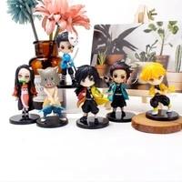 6pcsset demon slayer kimetsu no yaiba figure q ver giyuu inosuke tanjirou nezuko zenitsu figurine anime action figure