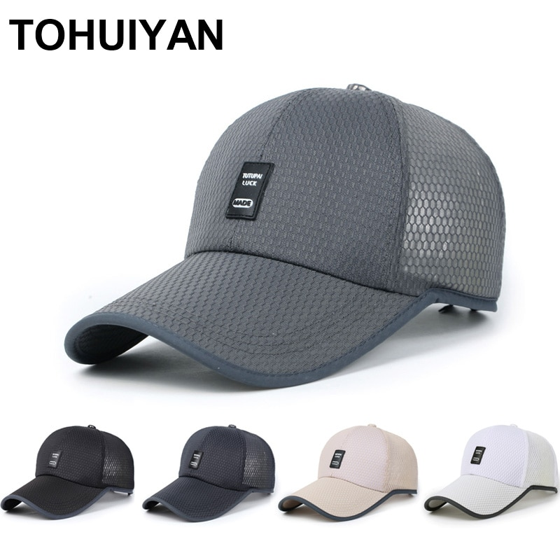 2020 sombreros de verano para hombres gorra de béisbol de malla transpirable visera curvada de moda Snapback sombreros Casual Unisex Casquette gorras deportivas