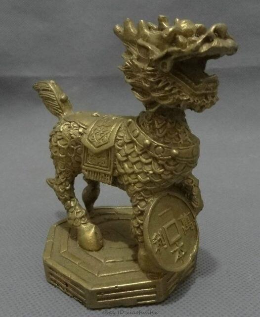 Elaborado latón chino FengShui unicornio dragón Kylin estatua Animal favorable