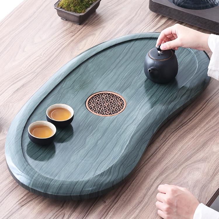 الصينية نمط صينية الشاي حجر خمر الإبداعية تخزين المياه صينية الشاي الشاي الشاي اكسسوارات Bandeja Comida teبينة أدوات DI50CP