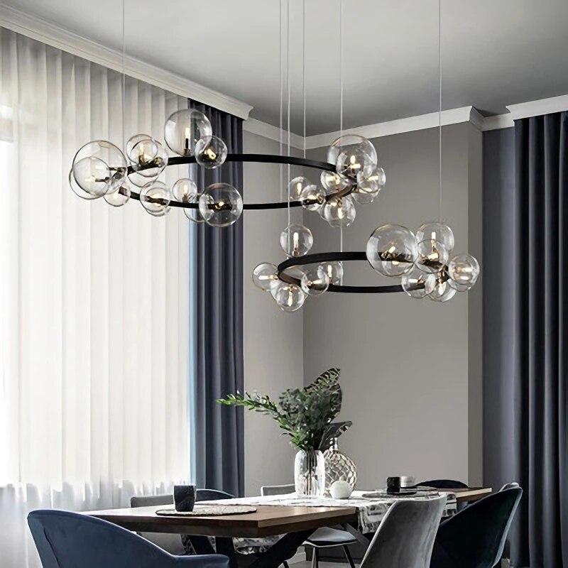 الشمال نمط قلادة أضواء حلقة الزجاج الأسود LED غرفة الطعام غرفة نوم الممر الإضاءة السقف مصمم المنزل الداخلية ديكو