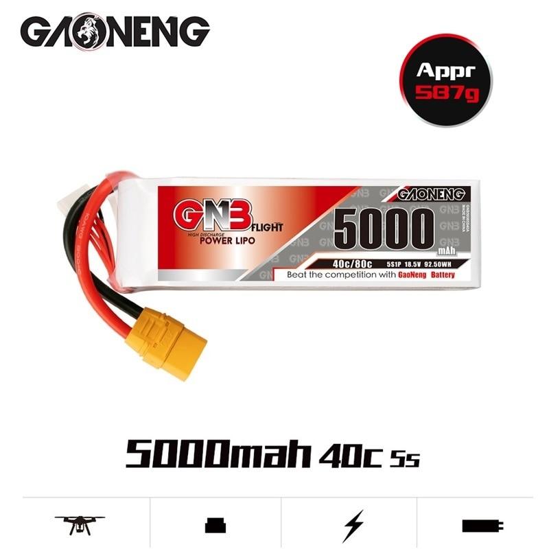 Gaoneng GNB 5S 18.5V RC LiPo Battery 5000mAh 40C MAX 80C For RC Quadrotor Airplane FPV Racing Drone Parts