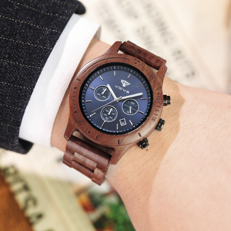 Wood Watches for Men Week Display Date High Quality Quartz Male Watches Dropshipping watch for men