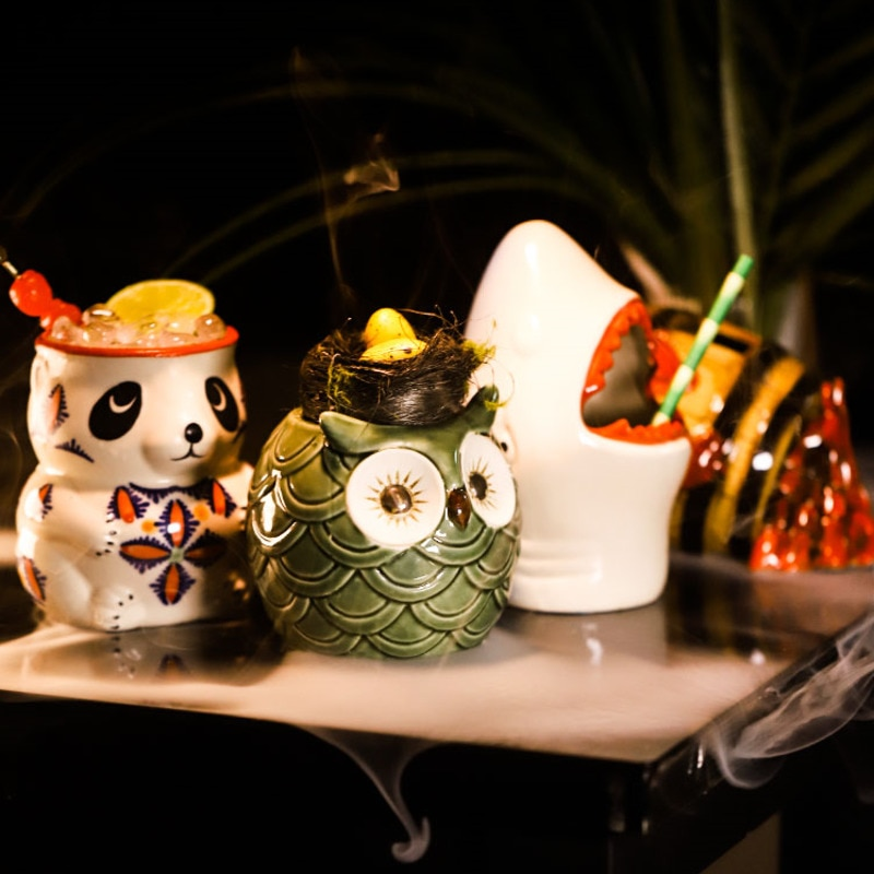 TIKI كأس الإبداعية الباندا شكل كأس للنبيذ هاواي كوكتيل كوب سيراميك كوب لطيف المشروبات شرب كوب ويسكي بار اكسسوارات