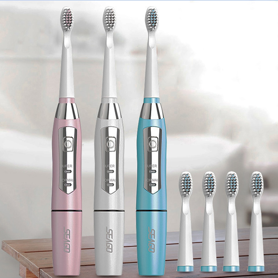 USB SEAGO Electric Toothbrush Waterproof  3 In 1 Battery Tooth Brushes Sonic Gum Health Ultrasonic Electric Brush Whiten Tool