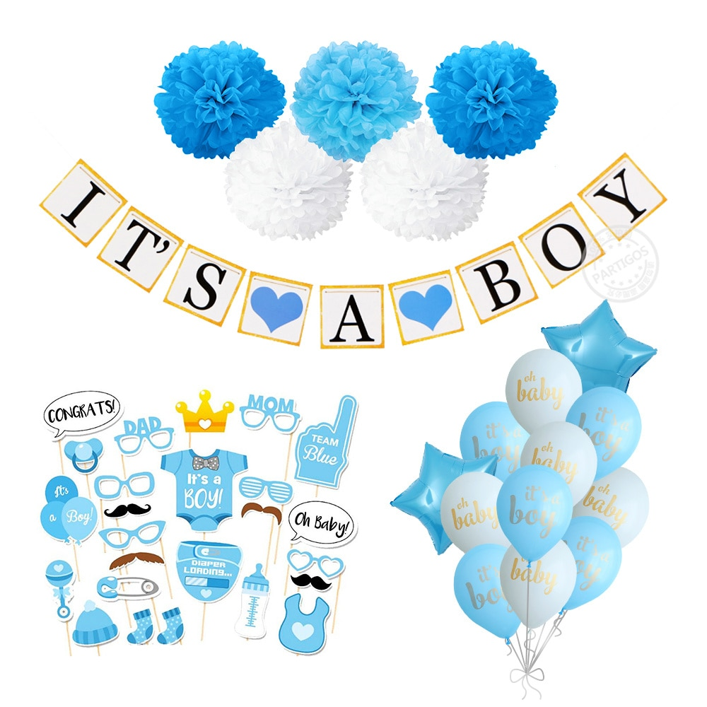 1 Set de globos para Baby shower It's a Boy Girl banners 1ª decoración de fiesta de cumpleaños género revelar suministros de fiesta él o ella