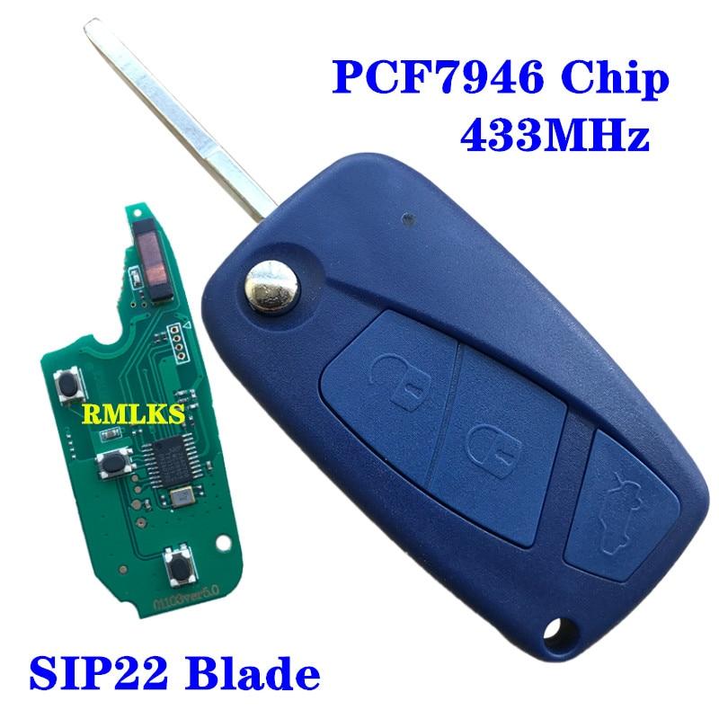 Mando a distancia con tapa y 3 botones, Control remoto de coche, 433mhz, PCF7946, Color azul para Fiat 500, Fiorino, Qubo, Panda, Idea, Punto Stilo Ducato