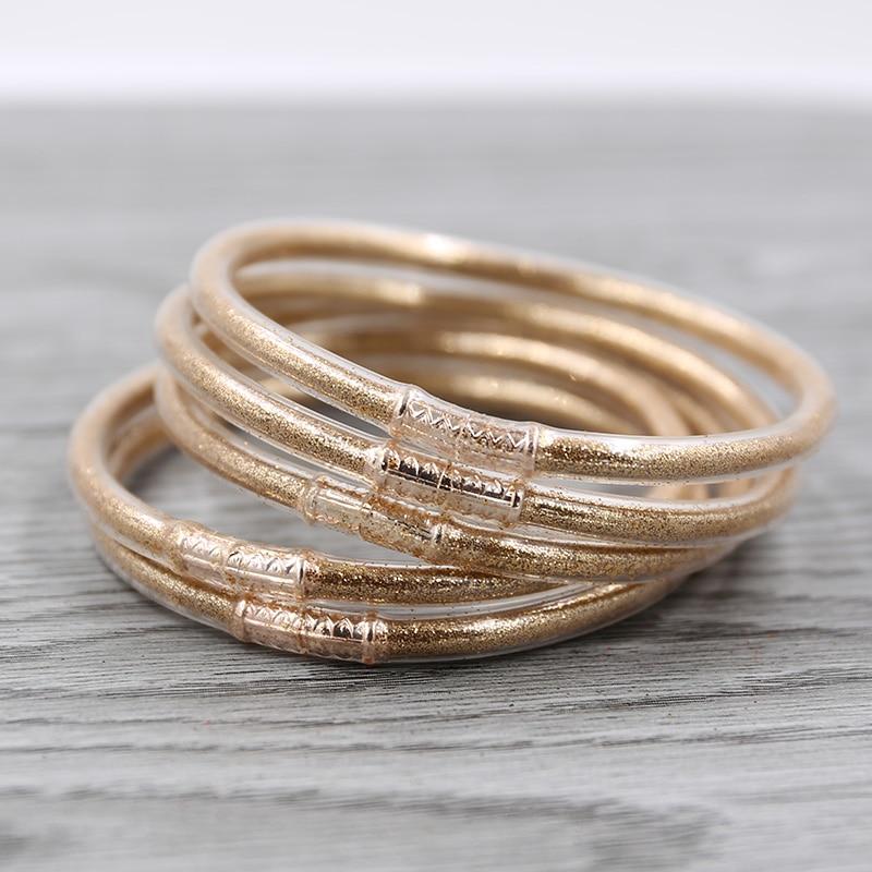 Strathspey ouro glitter jelly bangle peso leve pulseiras de plástico silicone pulseira de natal em pó forro jóias 1 conjunto/5 pçs