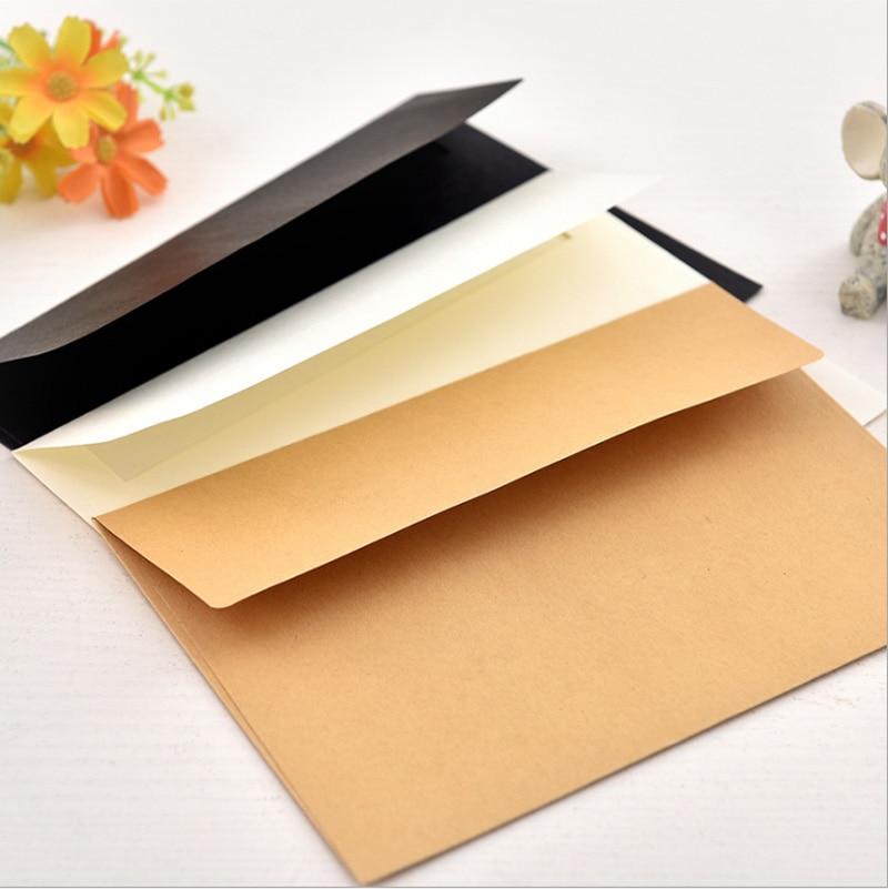 100 piezas 17,5 × 12,5 cm 1200g #3 sobre en blanco no impreso boda sobre de piel de vaca tarjeta negra papel Beige