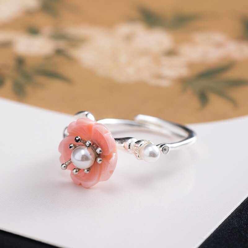 Real Freshwater Pearl Queen Shell Cherry Blossoms Open Rings For Women S925 Sterling Silver Chinese Style Female Jewelry