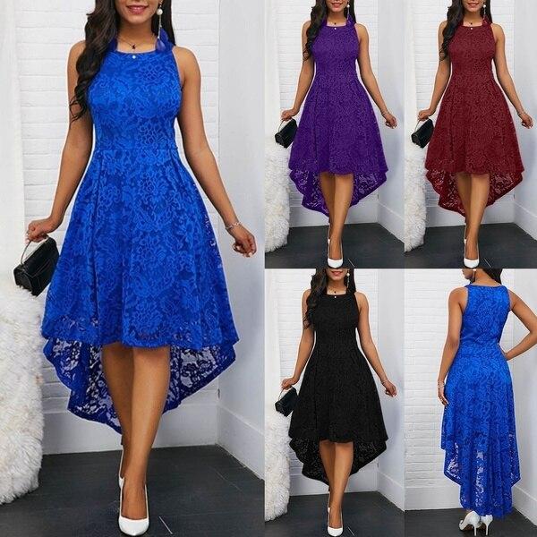 فستان أنيق لحفلات الكوكتيل مثير بدون أكمام من الدانتيل للسيدات فستان تونك صيفي عصري للنساء