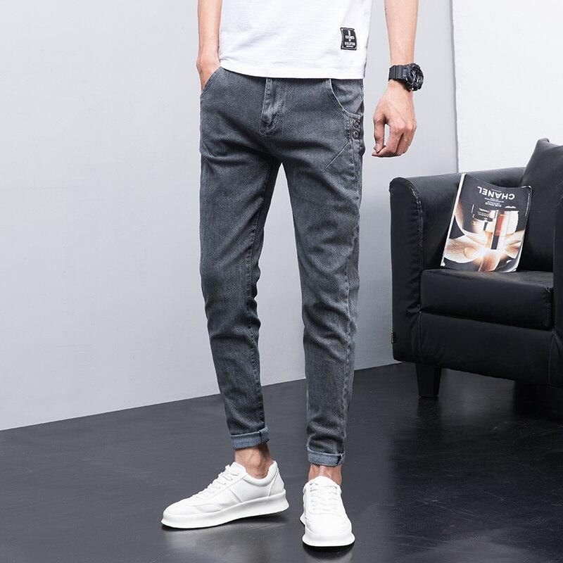 2021 джинсы мужские облегающие прямые штаны Молодежные длинные брюки мужские Студенческие осенние зимние модели повседневные Модные брюки ...