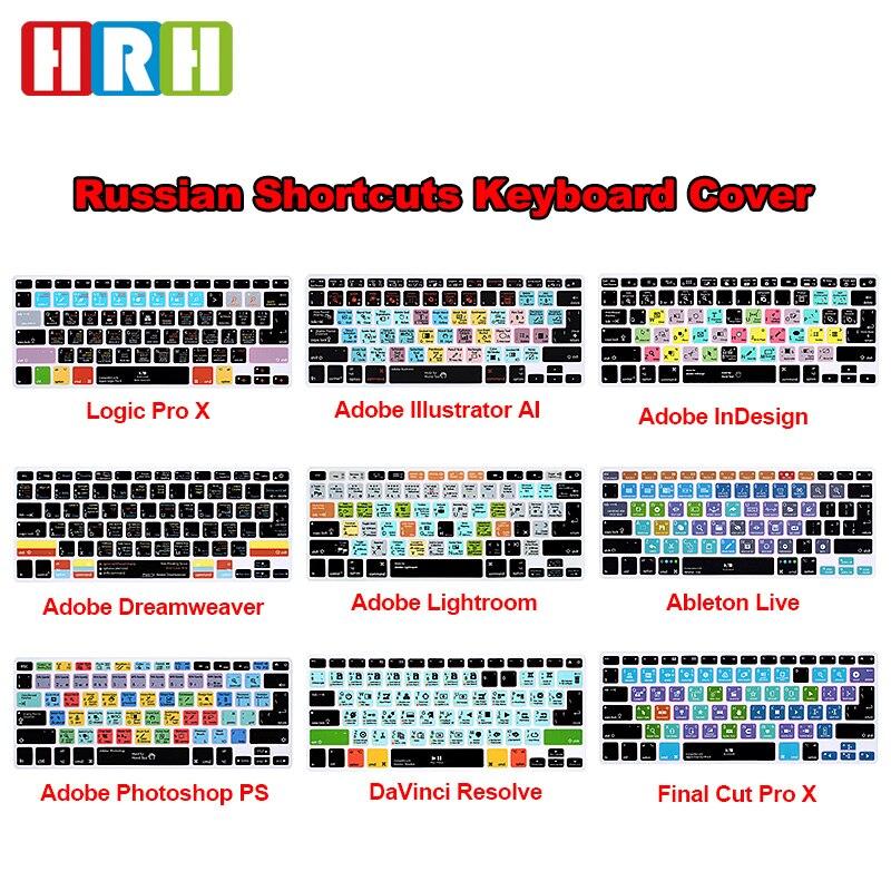 HRH-teclado de silicona para MacBook Pro 13, 15, versión rusa, OSX, prémium...