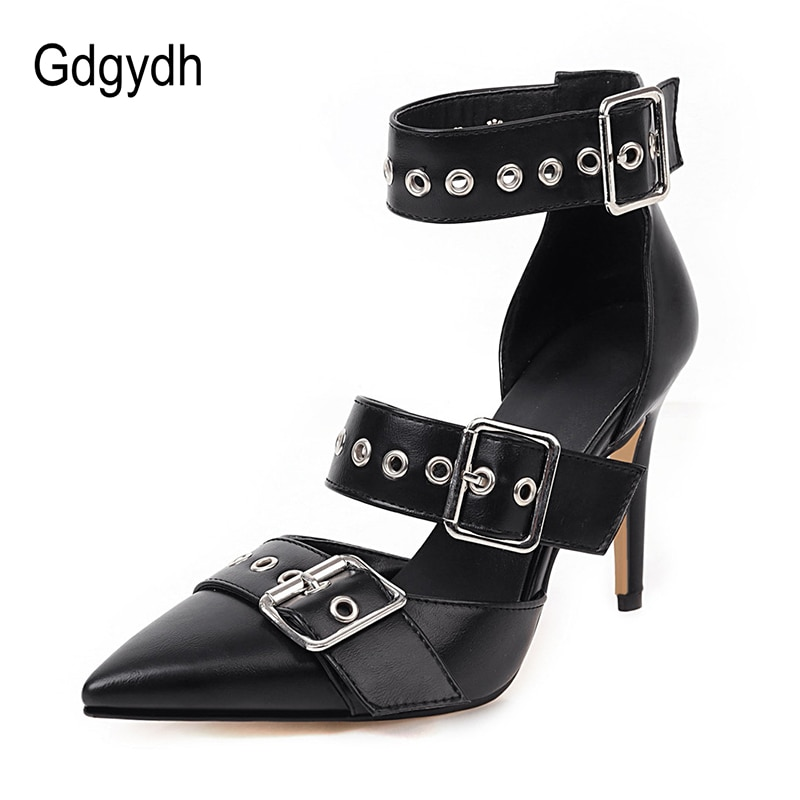 fragrantlily new women plus size big bow tie pumps butterfly pointed stiletto pointed toe woman wedding high heels shoes bowknot Gdgydh Black Punk Gothic High Heels Sexy Plus Size Pointed Toe Fashion Buckle Rivet Women Pumps Wedding Shoes Stiletto Heels New