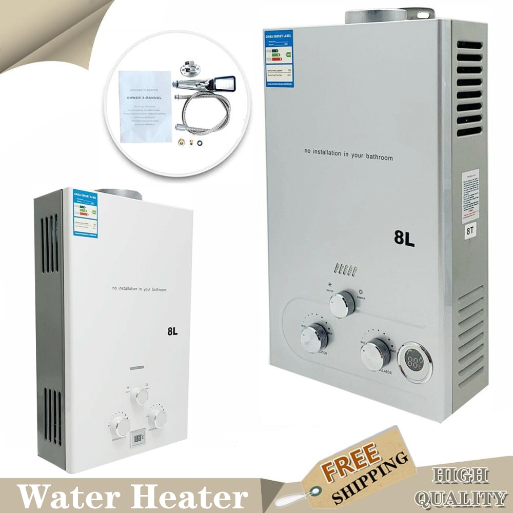8L 16 kW LPG gas propane tankless water heater boiler instant kettle liquid camping shower with show